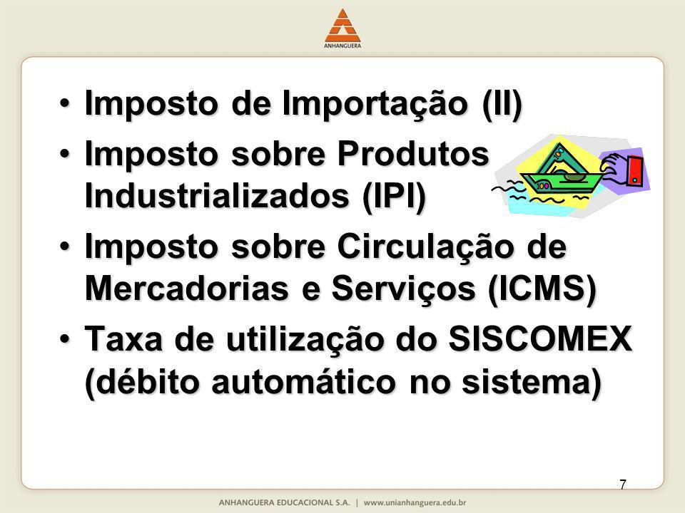 7 Imposto de Importação (II)Imposto de Importação (II) Imposto sobre Produtos Industrializados (IPI)Imposto sobre Produtos Industrializados (IPI) Impo