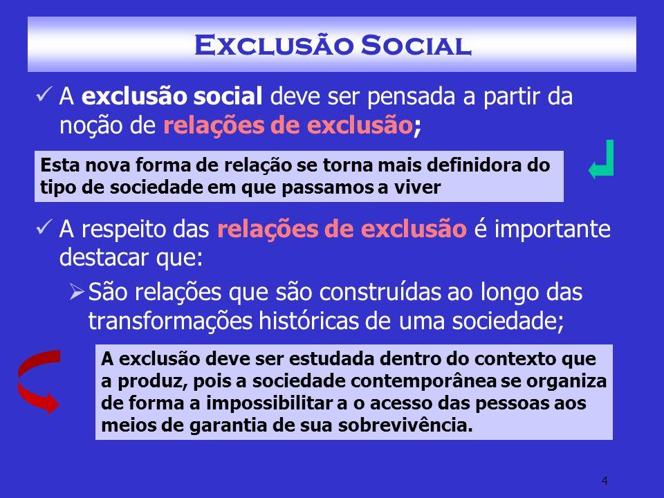 5 Exclusão Social Possuem seu início na divisão social do trabalho Pois estas são relações que surgem na relação estabelecida entre as pessoas e bens materiais.