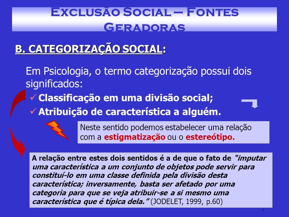 8 Exclusão Social – Fontes Geradoras C.