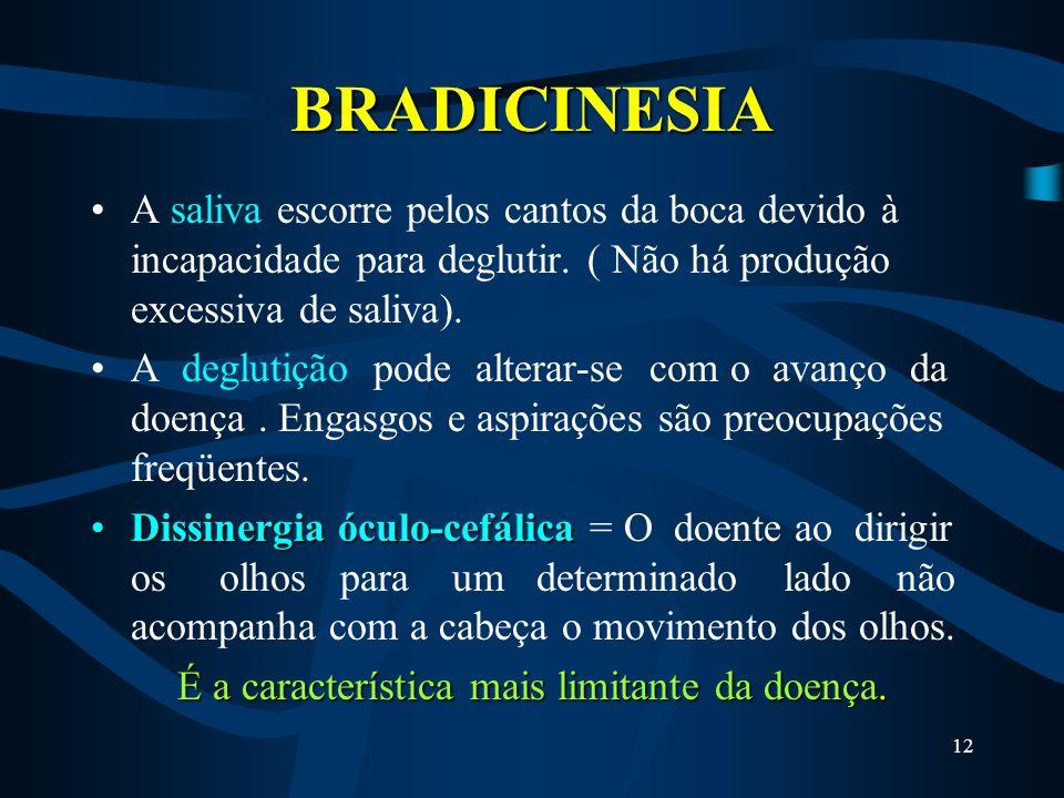 11 BRADICINESIA micrografiaA bradicinesia da mão dominante leva a uma escrita lenta e com letra pequena (micrografia), dificuldade em fazer barba, esc