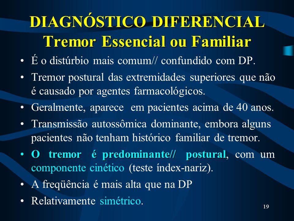 18 Como é feito o diagnóstico da D.P. ? POSSÍVELPOSSÍVEL = Se uma das características estiver presente: Tremor, rigidez ou bradicinesia. PROVÁVELPROVÁ