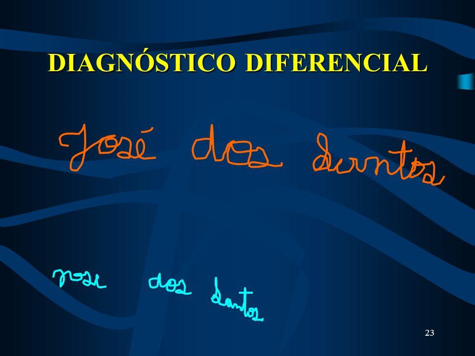22 DIAGNÓSTICO DIFERENCIAL Tremor Essencial ou Familiar Não há rigidez, nem bradicinesia associada. escrita à mão é grandeInterfere em funções como es
