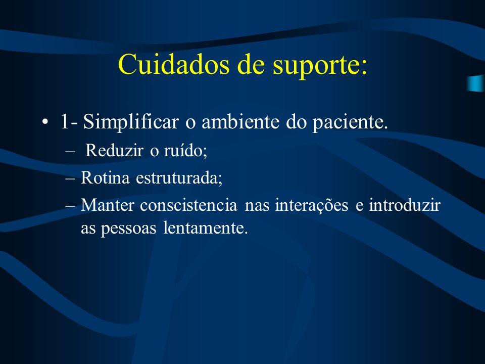 Cuidados de Enfermagem Estabeleça um sistema de comunicação eficaz Use um tom de voz suave e atitudes lentas e calmas ao falar com ele. Estimule a ind