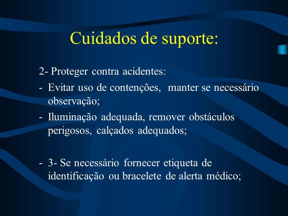 Cuidados de suporte: 1- Simplificar o ambiente do paciente. – Reduzir o ruído; –Rotina estruturada; –Manter conscistencia nas interações e introduzir