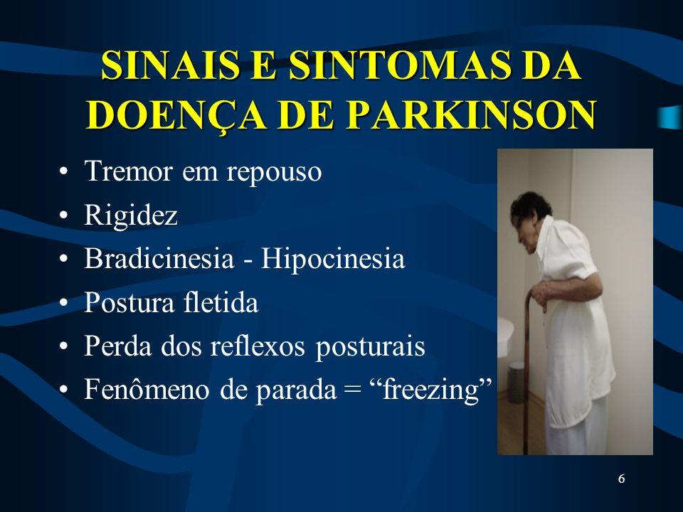 6 SINAIS E SINTOMAS DA DOENÇA DE PARKINSON Tremor em repouso Rigidez Bradicinesia - Hipocinesia Postura fletida Perda dos reflexos posturais Fenômeno de parada = freezing