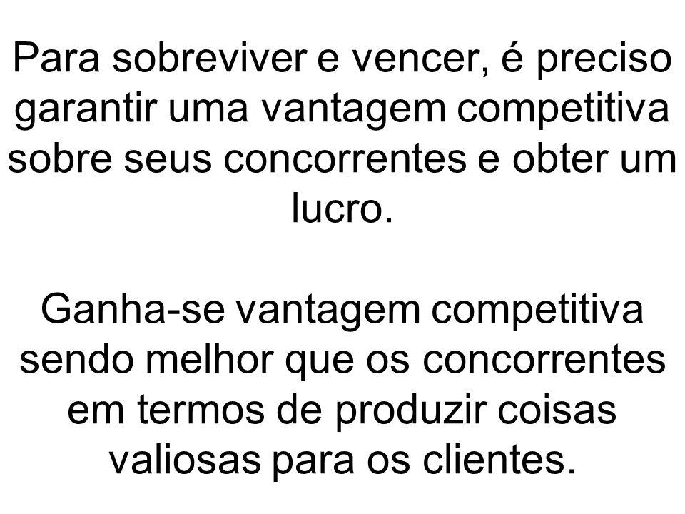 Para sobreviver e vencer, é preciso garantir uma vantagem competitiva sobre seus concorrentes e obter um lucro. Ganha-se vantagem competitiva sendo me