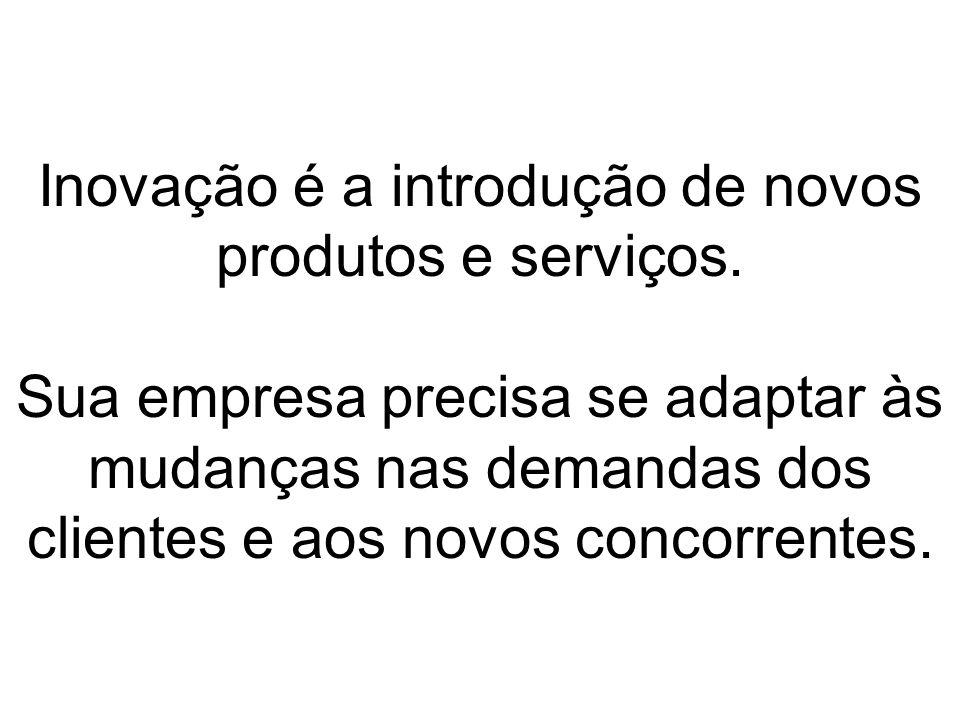 Inovação é a introdução de novos produtos e serviços. Sua empresa precisa se adaptar às mudanças nas demandas dos clientes e aos novos concorrentes.
