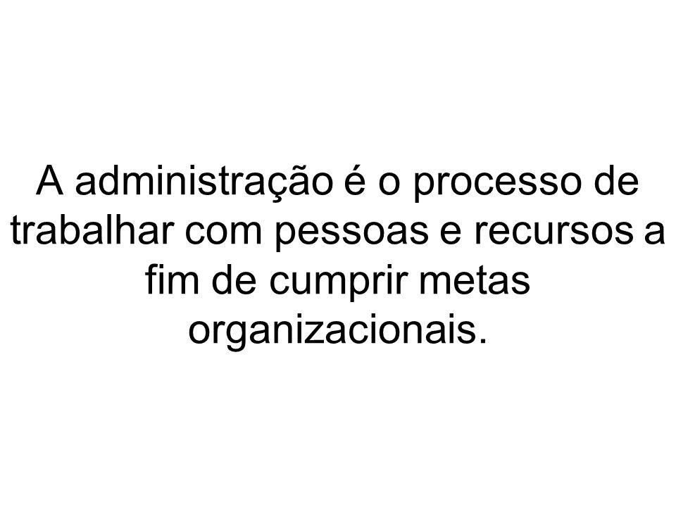 A administração é o processo de trabalhar com pessoas e recursos a fim de cumprir metas organizacionais.