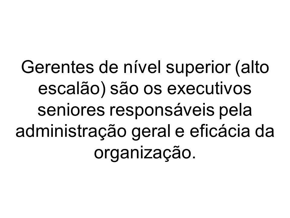 Gerentes de nível superior (alto escalão) são os executivos seniores responsáveis pela administração geral e eficácia da organização.