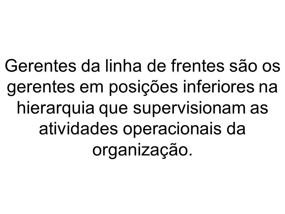 Gerentes da linha de frentes são os gerentes em posições inferiores na hierarquia que supervisionam as atividades operacionais da organização.