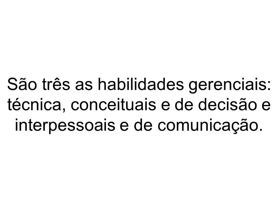 São três as habilidades gerenciais: técnica, conceituais e de decisão e interpessoais e de comunicação.