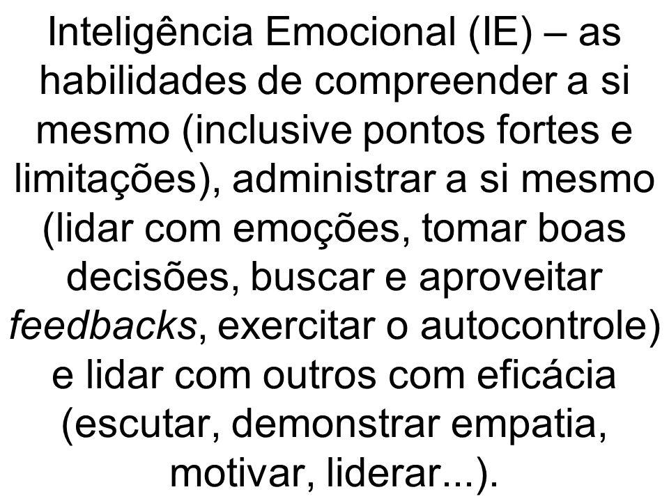 Inteligência Emocional (IE) – as habilidades de compreender a si mesmo (inclusive pontos fortes e limitações), administrar a si mesmo (lidar com emoçõ