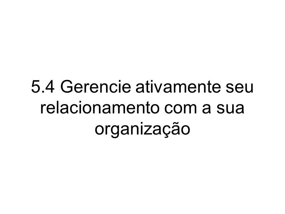 5.4 Gerencie ativamente seu relacionamento com a sua organização