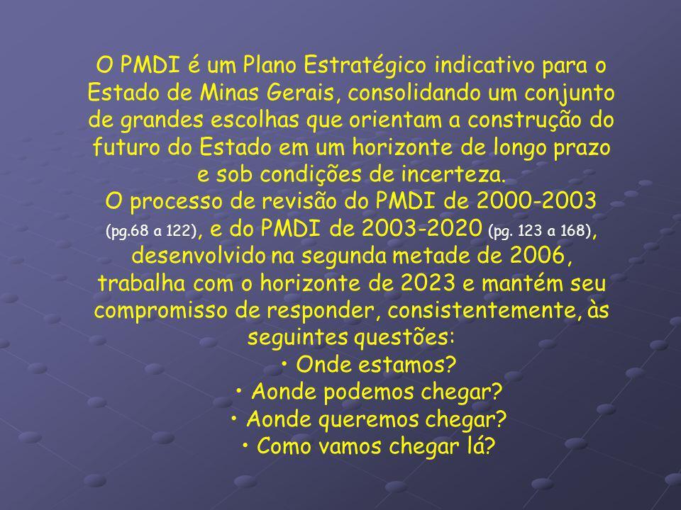 O PMDI é um Plano Estratégico indicativo para o Estado de Minas Gerais, consolidando um conjunto de grandes escolhas que orientam a construção do futu