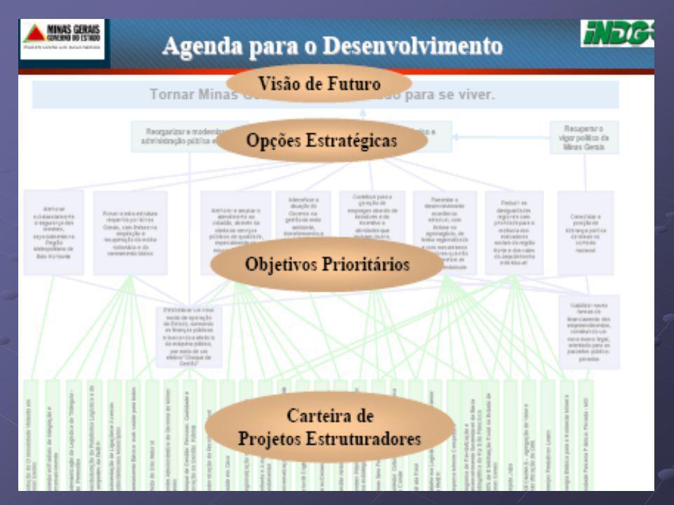Utilizando o PMDI como referência estratégica de longo prazo, foi definida pelo Colegiado de Gestão Governamental uma carteira de 30 Projetos Estruturadores intitulada GERAES e elaborado o Plano Plurianual de Ação Governamental – PPAG 2004/2007 que inclui demais programas prioritários do Governo.