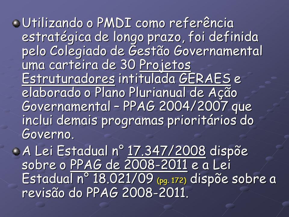 GERAES Gestão Estratégica dos Recursos e Ações do Estado PMDI – Plano Estratégico indicativo para o Estado de MG (conjunto de escolhas políticas que orientam a construção de futuro do estado).