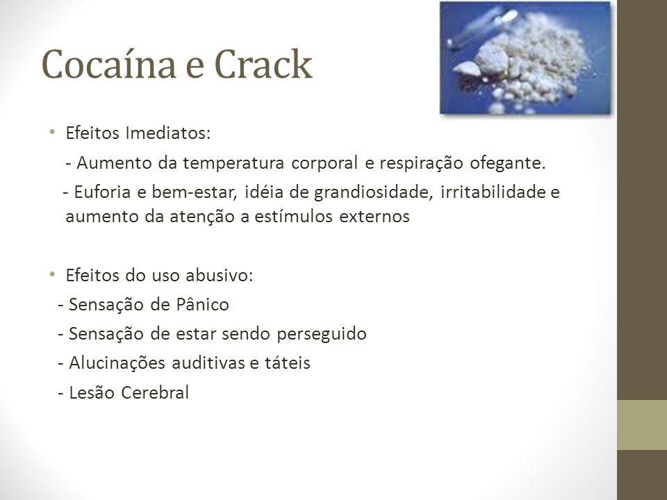 Cocaína e Crack Efeitos Imediatos: - Aumento da temperatura corporal e respiração ofegante. - Euforia e bem-estar, idéia de grandiosidade, irritabilid