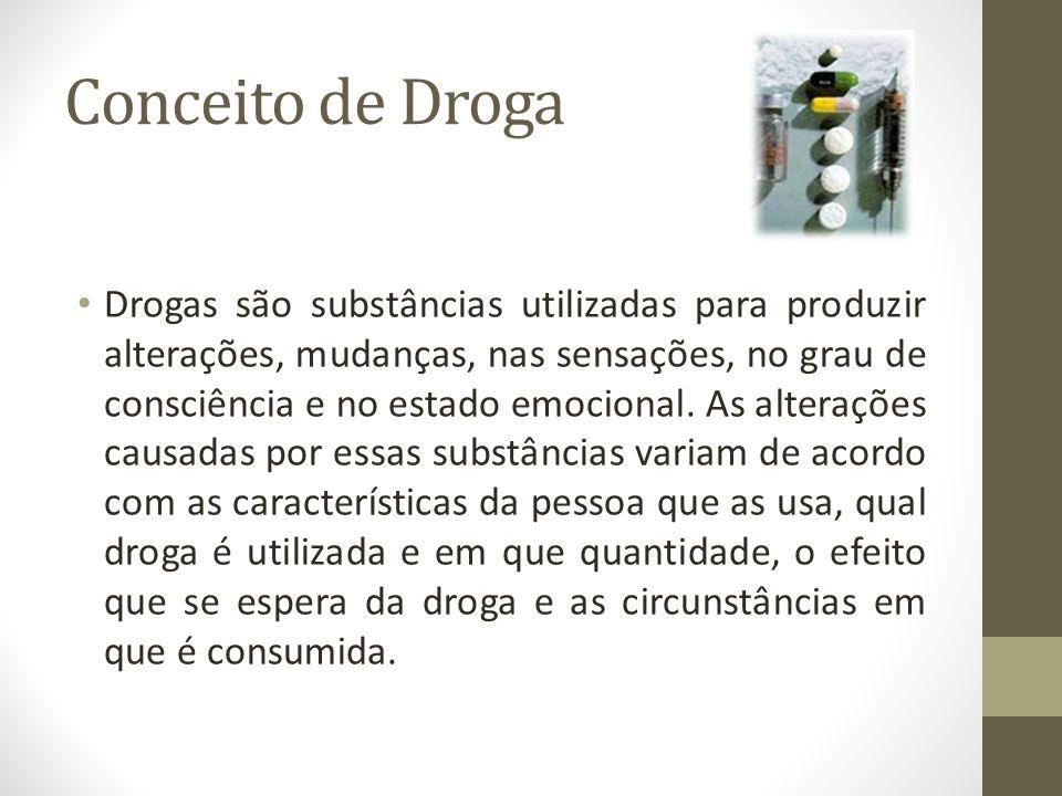 Conceito de Droga Drogas são substâncias utilizadas para produzir alterações, mudanças, nas sensações, no grau de consciência e no estado emocional. A