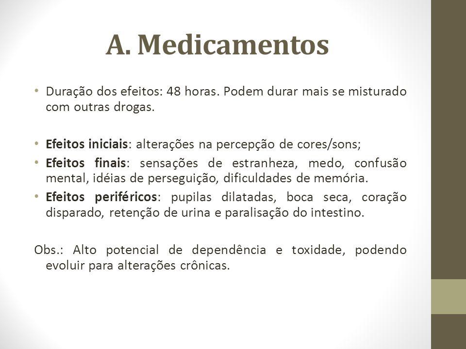 A. Medicamentos Duração dos efeitos: 48 horas. Podem durar mais se misturado com outras drogas. Efeitos iniciais: alterações na percepção de cores/son