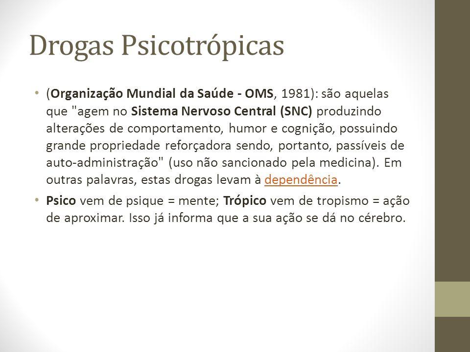 Drogas Psicotrópicas (Organização Mundial da Saúde - OMS, 1981): são aquelas que