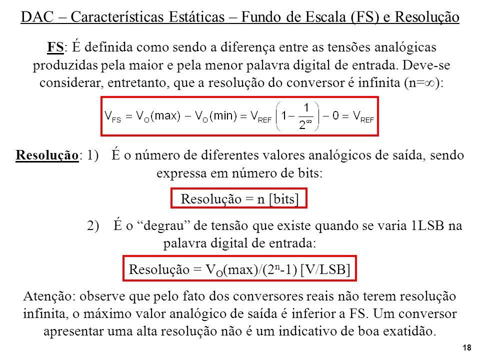 18 DAC – Características Estáticas – Fundo de Escala (FS) e Resolução FS: É definida como sendo a diferença entre as tensões analógicas produzidas pel