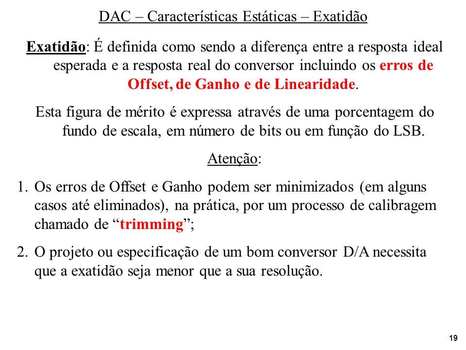 19 DAC – Características Estáticas – Exatidão Exatidão: É definida como sendo a diferença entre a resposta ideal esperada e a resposta real do convers