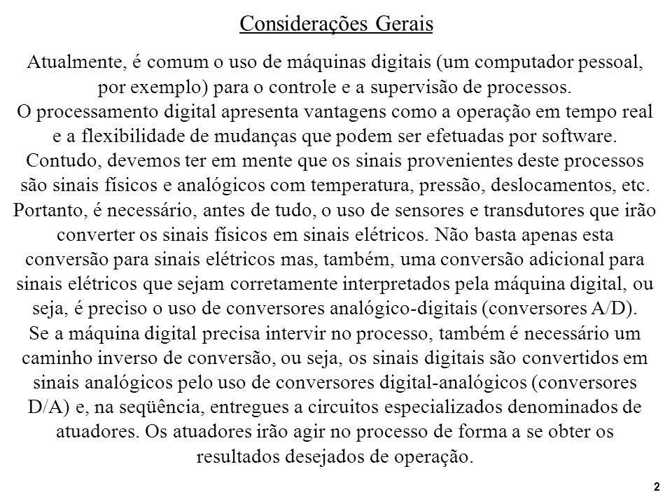 2 Considerações Gerais Atualmente, é comum o uso de máquinas digitais (um computador pessoal, por exemplo) para o controle e a supervisão de processos