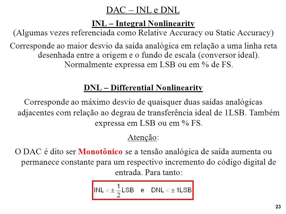 23 DAC – INL e DNL INL – Integral Nonlinearity (Algumas vezes referenciada como Relative Accuracy ou Static Accuracy) Corresponde ao maior desvio da s