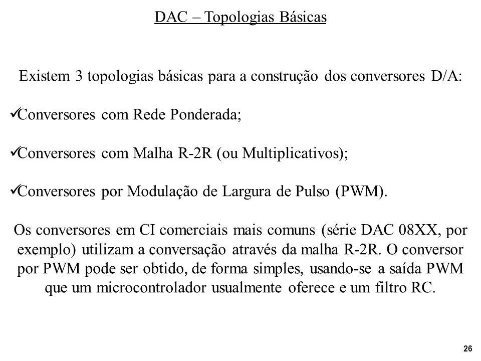 26 DAC – Topologias Básicas Existem 3 topologias básicas para a construção dos conversores D/A: Conversores com Rede Ponderada; Conversores com Malha