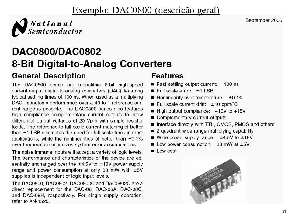 31 Exemplo: DAC0800 (descrição geral)