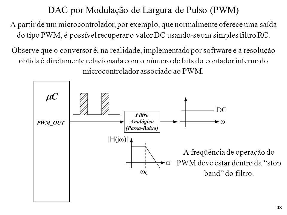 38 DAC por Modulação de Largura de Pulso (PWM) A partir de um microcontrolador, por exemplo, que normalmente oferece uma saída do tipo PWM, é possível