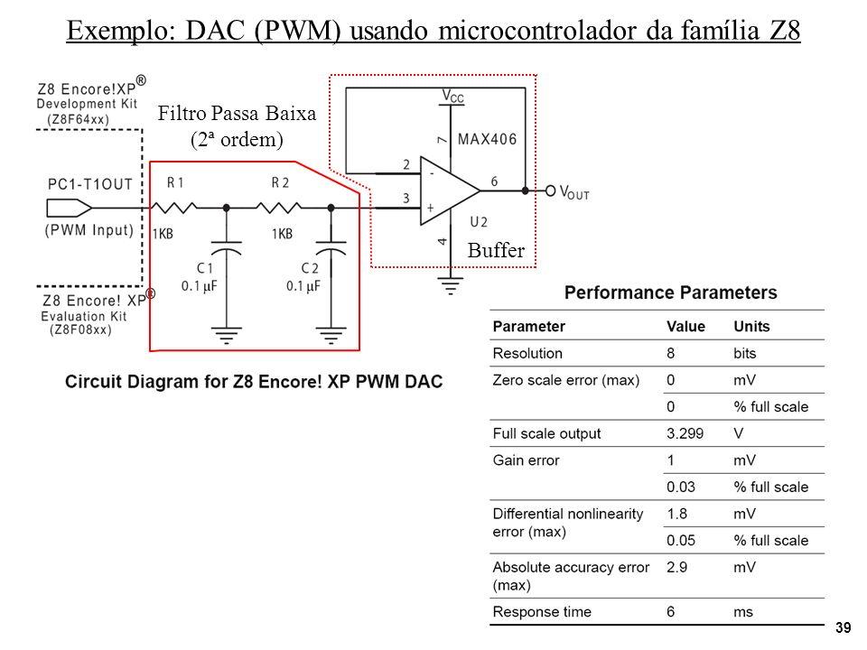 39 Exemplo: DAC (PWM) usando microcontrolador da família Z8 Filtro Passa Baixa (2ª ordem) Buffer