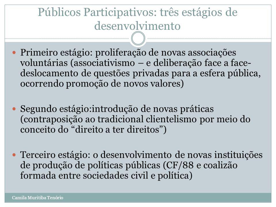 Camila Muritiba Tenório Públicos Participativos: três estágios de desenvolvimento Primeiro estágio: proliferação de novas associações voluntárias (ass