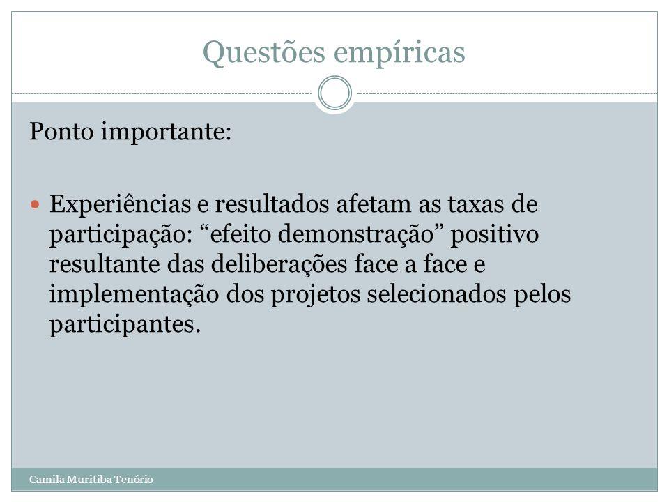 Camila Muritiba Tenório Questões empíricas Ponto importante: Experiências e resultados afetam as taxas de participação: efeito demonstração positivo r