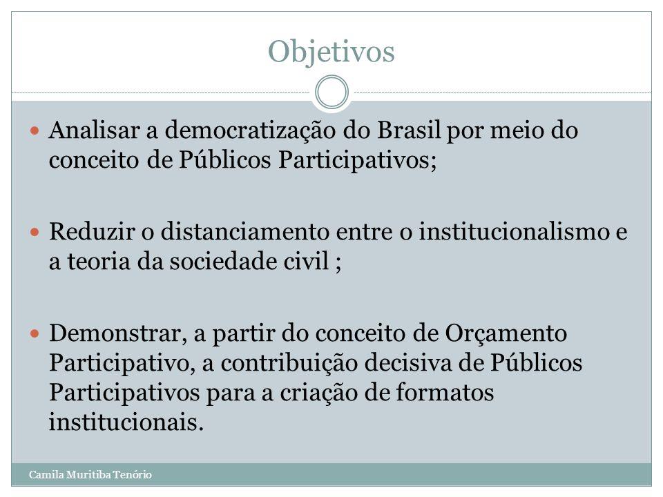 Camila Muritiba Tenório Objetivos Analisar a democratização do Brasil por meio do conceito de Públicos Participativos; Reduzir o distanciamento entre