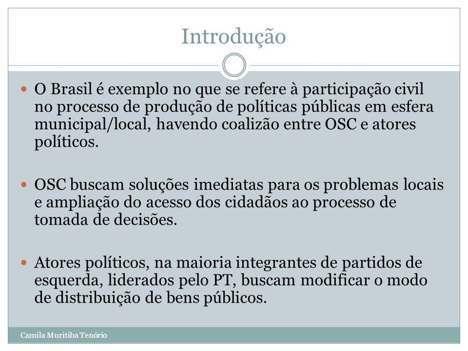 Camila Muritiba Tenório Introdução O Brasil é exemplo no que se refere à participação civil no processo de produção de políticas públicas em esfera mu