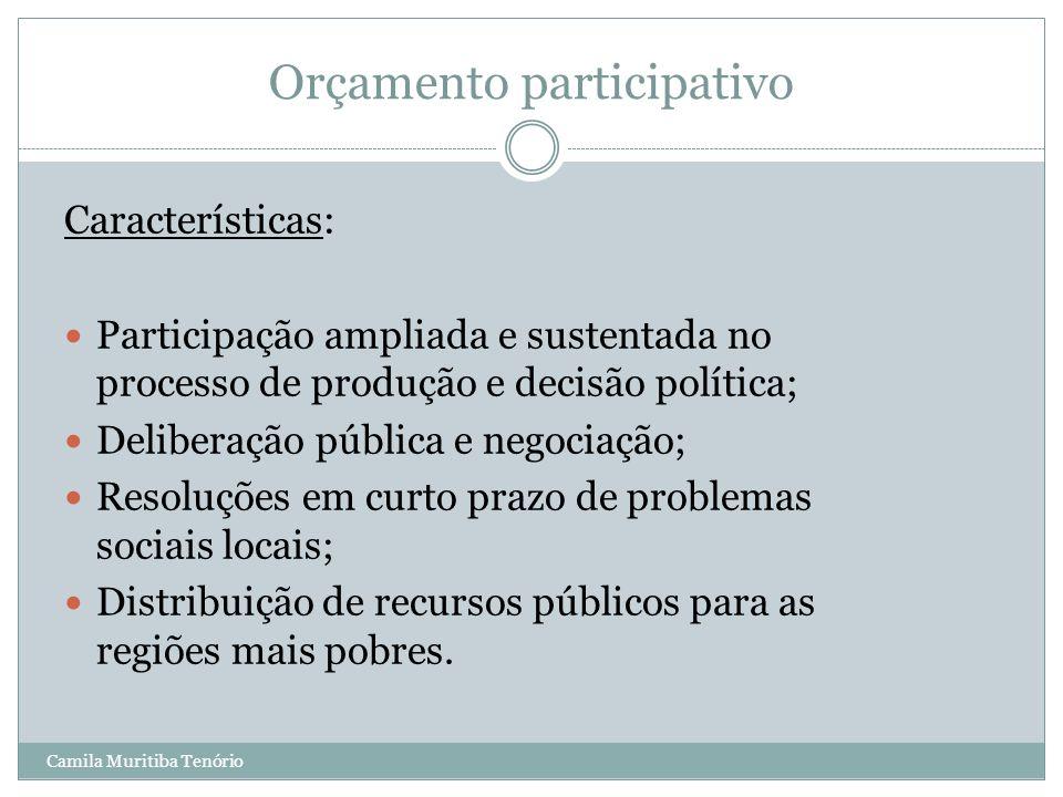 Camila Muritiba Tenório Orçamento participativo Características: Participação ampliada e sustentada no processo de produção e decisão política; Delibe