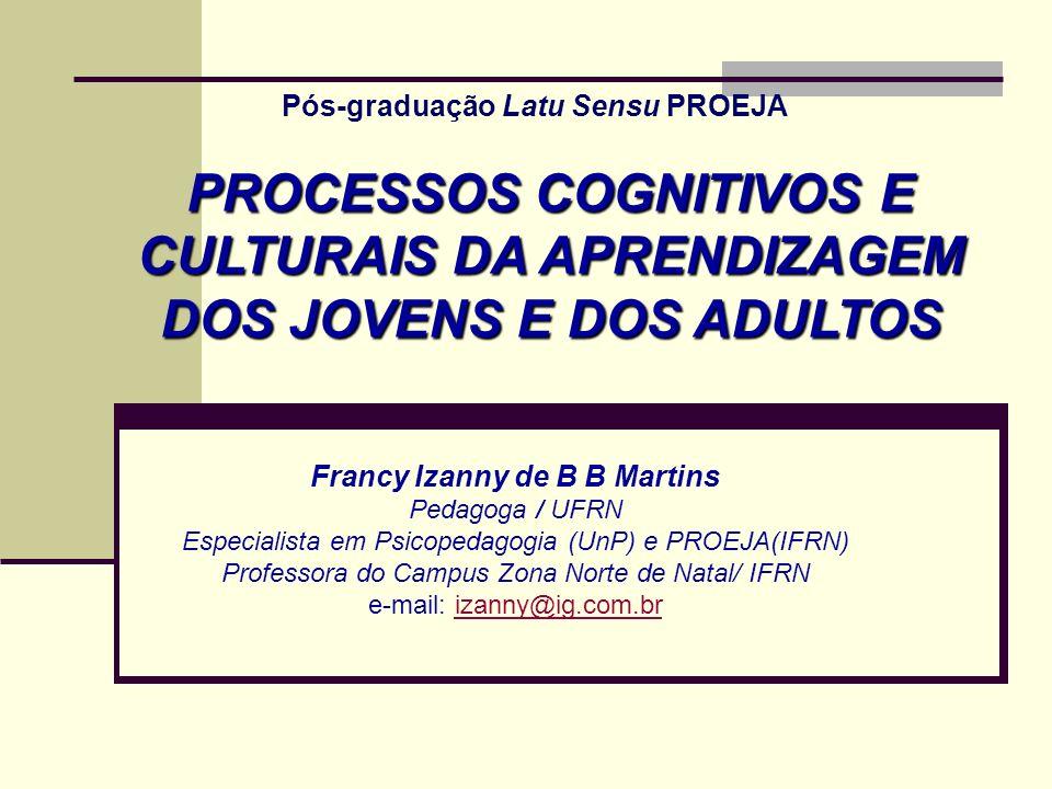 Francy Izanny de B B Martins Pedagoga / UFRN Especialista em Psicopedagogia (UnP) e PROEJA(IFRN) Professora do Campus Zona Norte de Natal/ IFRN e-mail