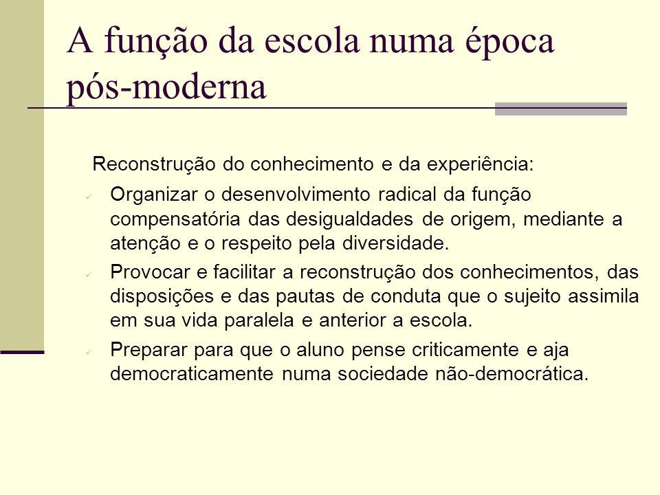A função da escola numa época pós-moderna Reconstrução do conhecimento e da experiência: Organizar o desenvolvimento radical da função compensatória d