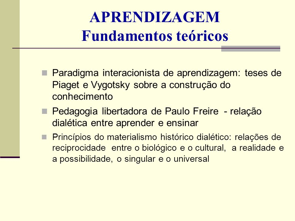 APRENDIZAGEM Fundamentos teóricos Paradigma interacionista de aprendizagem: teses de Piaget e Vygotsky sobre a construção do conhecimento Pedagogia li