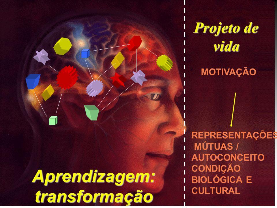 Projeto de vida Aprendizagem: transformação MOTIVAÇÃO REPRESENTAÇÕES MÚTUAS / AUTOCONCEITO CONDIÇÃO BIOLÓGICA E CULTURAL