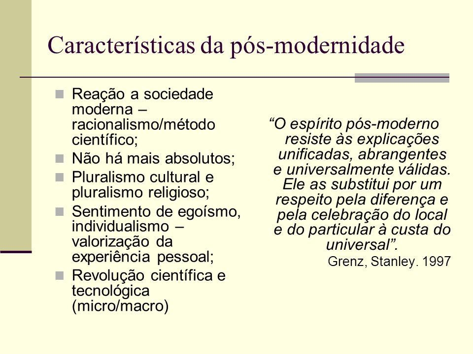 Características da pós-modernidade Reação a sociedade moderna – racionalismo/método científico; Não há mais absolutos; Pluralismo cultural e pluralism