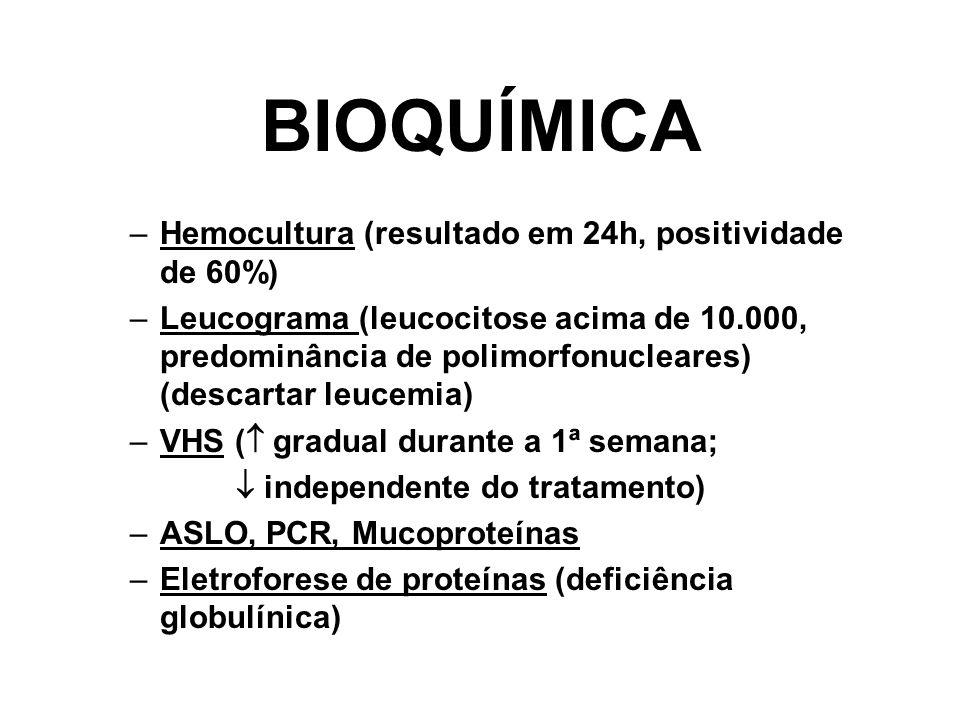 BIOQUÍMICA –Hemocultura (resultado em 24h, positividade de 60%) –Leucograma (leucocitose acima de 10.000, predominância de polimorfonucleares) (descar