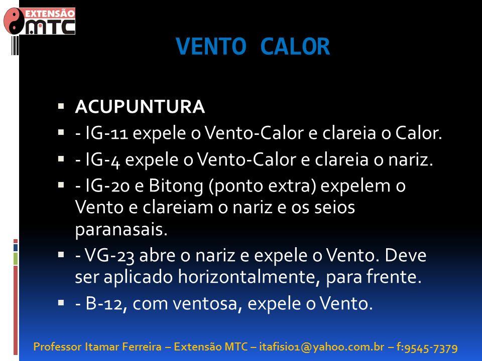 Professor Itamar Ferreira – Extensão MTC – itafisio1@yahoo.com.br – f:9545-7379 VENTO CALOR ACUPUNTURA - IG-11 expele o Vento-Calor e clareia o Calor.