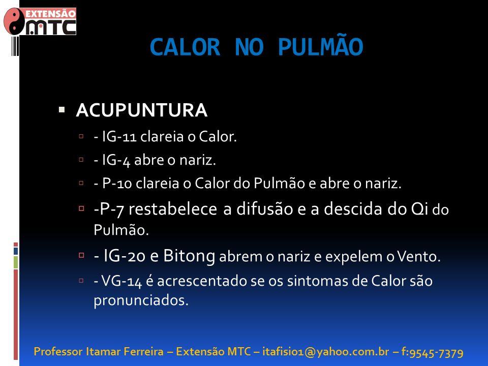 Professor Itamar Ferreira – Extensão MTC – itafisio1@yahoo.com.br – f:9545-7379 CALOR NO PULMÃO ACUPUNTURA - IG-11 clareia o Calor. - IG-4 abre o nari