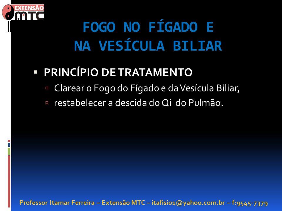Professor Itamar Ferreira – Extensão MTC – itafisio1@yahoo.com.br – f:9545-7379 FOGO NO FÍGADO E NA VESÍCULA BILIAR PRINCÍPIO DE TRATAMENTO Clarear o