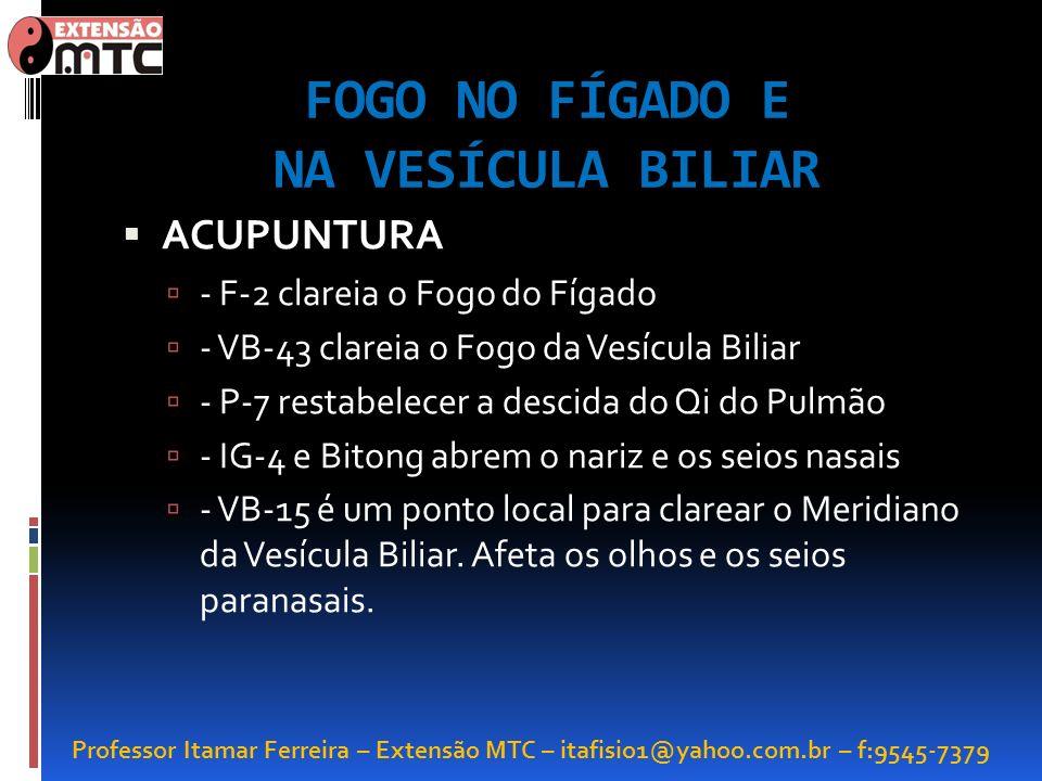 Professor Itamar Ferreira – Extensão MTC – itafisio1@yahoo.com.br – f:9545-7379 FOGO NO FÍGADO E NA VESÍCULA BILIAR ACUPUNTURA - F-2 clareia o Fogo do