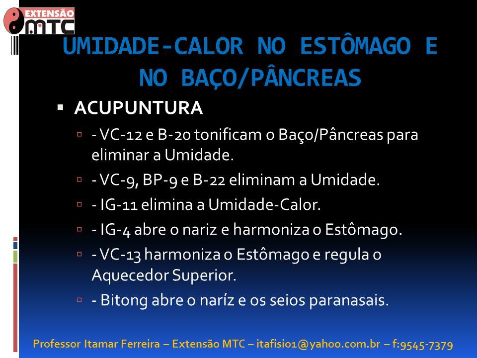Professor Itamar Ferreira – Extensão MTC – itafisio1@yahoo.com.br – f:9545-7379 UMIDADE-CALOR NO ESTÔMAGO E NO BAÇO/PÂNCREAS ACUPUNTURA - VC-12 e B-20