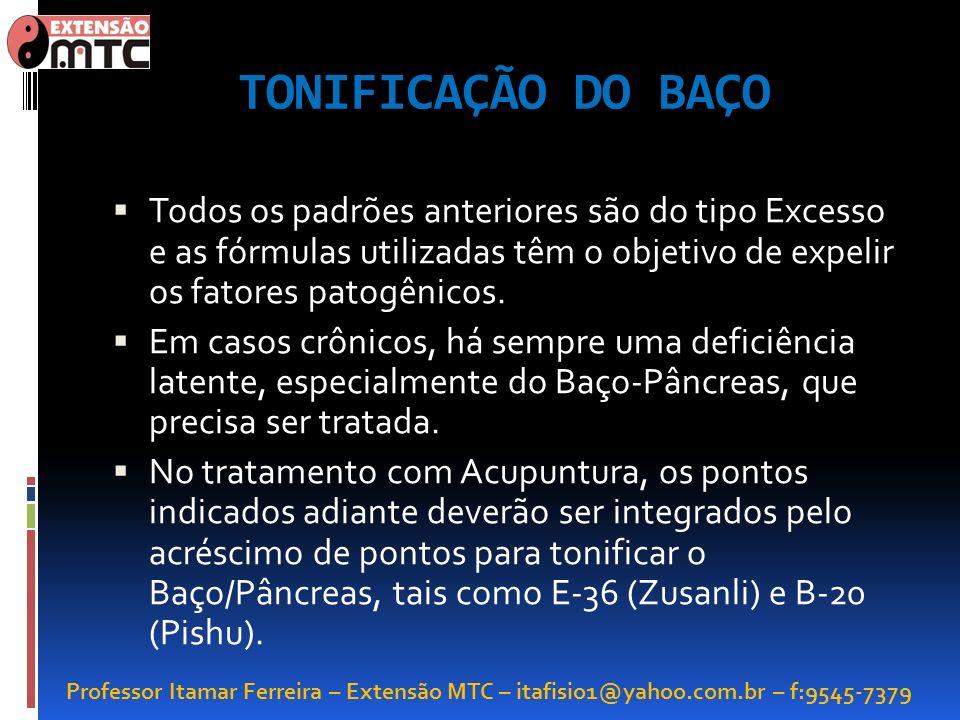 Professor Itamar Ferreira – Extensão MTC – itafisio1@yahoo.com.br – f:9545-7379 TONIFICAÇÃO DO BAÇO Todos os padrões anteriores são do tipo Excesso e