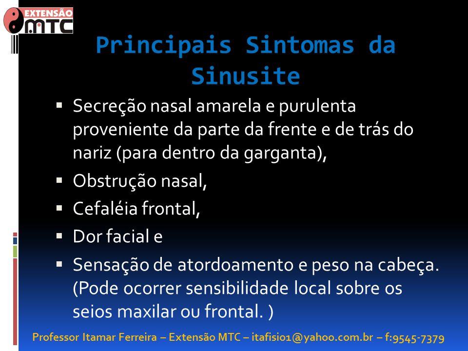 Professor Itamar Ferreira – Extensão MTC – itafisio1@yahoo.com.br – f:9545-7379 Principais Sintomas da Sinusite Secreção nasal amarela e purulenta pro
